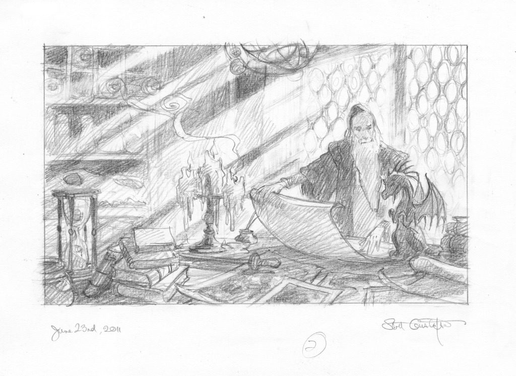 Sketch: Dragon and Scribe 2 by Scott Gustafson